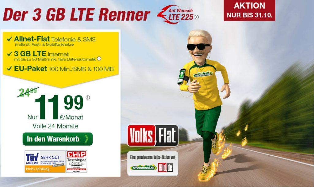 Der 3GB LTE Renner: Volks-Flat von Smartmobil und Bild.de mit Allnet Flat für 11,99 Euro pro Monat